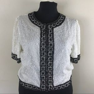 Vintage White and Black Silk Beaded Jacket